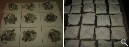 Пирожки с грибами из слоеного теста фото 06