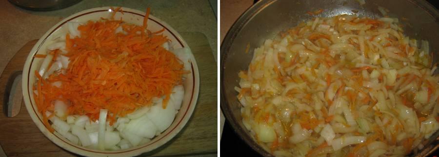 тушеная навага с морковью и луком