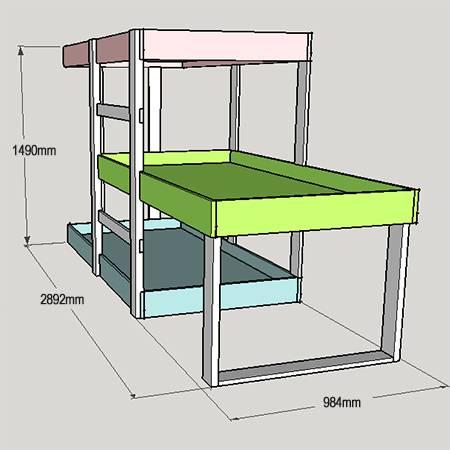 Трехъярусная кровать фото 02