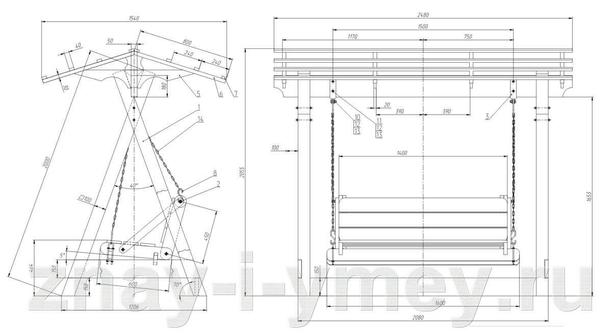 чертеж садовых деревянных