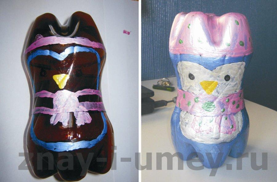 Пингвины из пластиковых бутылок - W. Пингвины из пластиковых бутылок.  Пр. Как сделать божью коровку из пласти.