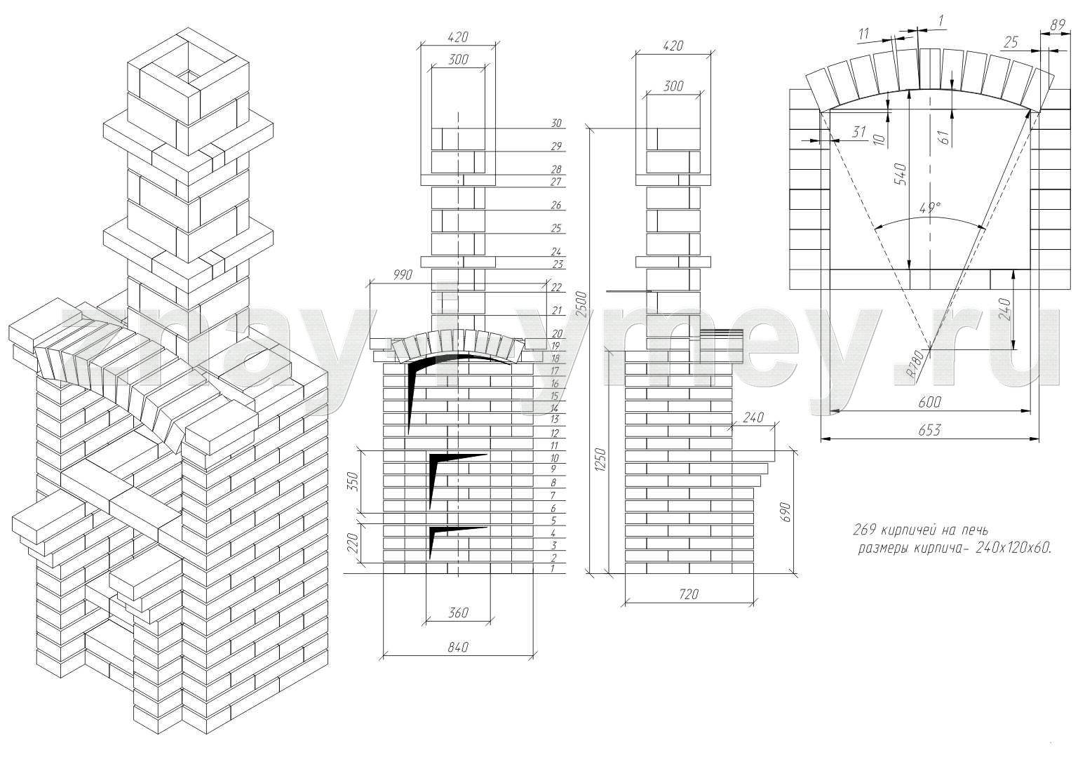 Мангал-камин из кирпича своими руками схема 57