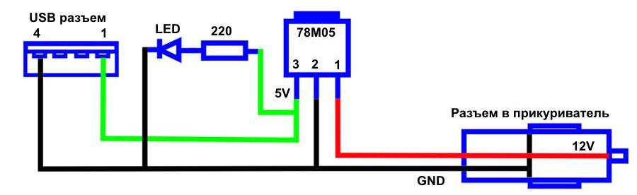 Схема автомобильного прикуривателя.