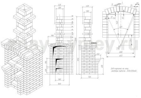 Барбекю из кирпича - порядовка и схема Частный архитектор Илья Сибиряков Архитектурное проектирование.